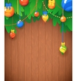 Merry Christmas Card Christmas Tree and Glass vector image vector image