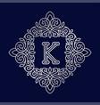 monogram k bage logo text vector image vector image