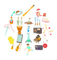 musical hobby icons set cartoon style vector image vector image