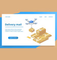 parcels delivery with drone technology vector image vector image