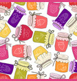 pattern of hand drawn jars with home-made jams vector image