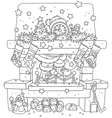 Santa in the fireplace vector image vector image