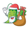 santa with gift peas mascot cartoon style vector image vector image