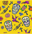 seamless pattern design sugar skull vector image
