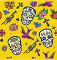 seamless pattern design sugar skull vector image vector image