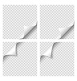set of curly page corner blank sheet of paper vector image