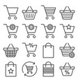 shopping cart and bags icons set on white vector image