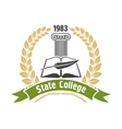 State college heraldic insignia with book and pen vector image