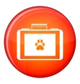 Suitcase for animals icon flat style
