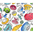 tea time seamless pattern with doodle elements vector image