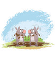 two boars in mud vector image