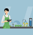 woman farmer with tablet vector image