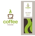 Coffee house logo and business card templates vector image