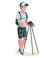 happy photographer is taking a photo using slr vector image