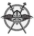 viking helmet crossed viking sword and in a vector image