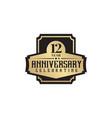12th year anniversary emblem logo design template