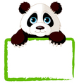 adorable panda looking over a blank sign vector image vector image