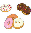 assorted donuts with chocolate frosted pink vector image