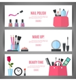 beauty banner design cosmetic accessories vector image