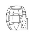 beer barrel and bottle drink beverage vector image vector image