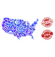 business contacts composition of mosaic map of usa vector image