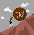 Business woman pushing heavy tax uphill vector image vector image