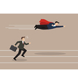 businessman superhero fly pass his competitor vector image vector image