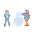 children making snowman in warm clothes vector image vector image