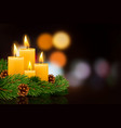 christmas burning candles vector image vector image