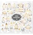 collection sketchy space objects vector image