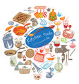 colorful doodle kitchen tools concept vector image vector image