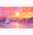 colorful sunset scene with sailboat and birds vector image