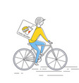 courier on bicycledelivering food vector image vector image