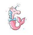 cute unicorn mermaid simple cartoon vector image vector image