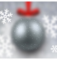 Defocused silver christmas ball vector image