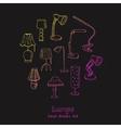 doodle set lamps vector image