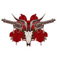 emblem with skull of goat red roses and pistols vector image vector image