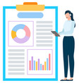 employee with graph report management vector image vector image