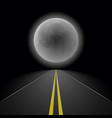 empty straight night perspective asphalt road vector image vector image