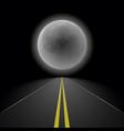 empty straight night perspective asphalt road vector image