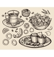 fast food hand drawn cup coffee tea vegetable vector image