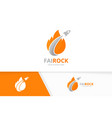 fire and rocket logo combination flame and vector image vector image