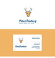 flat reindeer logo and visiting card template vector image vector image