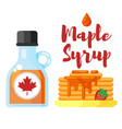 flat style of pancakes with maple syrup vector image vector image