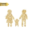 Gold glitter icon of family isolated on vector image