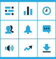 interface icons colored set with down arrow vector image