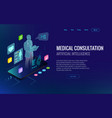 isometric healthcare diagnostics and online vector image vector image