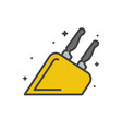 kitchen knife line icon on white background for vector image