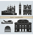 lyon landmarks and monuments vector image vector image