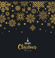 merry christmas lettering with snowflake gold vector image